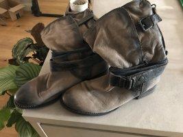 Pakros Botki w stylu western antracyt-szaro-brązowy