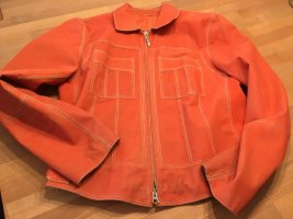 Coole Lederjacke in Orange im Used-Look M