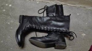 Stradivarius Aanrijg laarzen zwart Leer