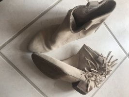 H&M Western Booties oatmeal-natural white leather