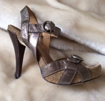Cooler High Heel im Metallic-Look von Bronx aus Bronze-farbenem Leder, neuwertig