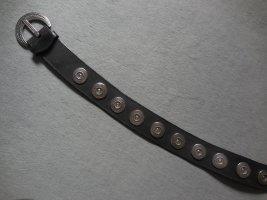 Keine Marke Lederen riem zwart-zilver Leer