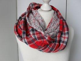 cooler Loop Schal aus Mustermix von Manguun Weiß Rot Dunkelblau
