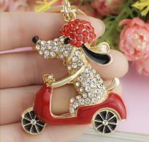 markenlos Key Chain gold-colored-red