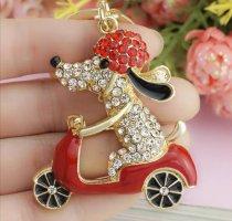Cooler Schlüssel-/Taschenanhänger Hund auf Vespa Moped, golden Strass Metall NEU