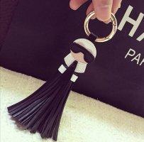 Cooler Schlüssel-/Taschenanhänger Lagerfeld Art, schwarz, Kunstleder NEU