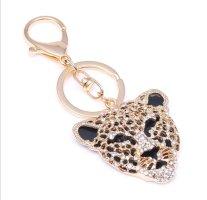 Cooler Schlüssel- /Taschenanhänger Leopard schwarz gold Strass Metall *NEU*