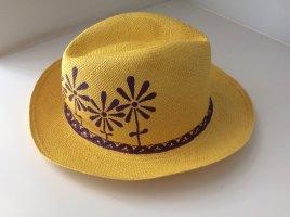 Cappello di paglia giallo pallido-viola scuro Canapa