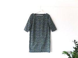 COS Kleid Tunika Gr. 40 dunkelblau grün weiß geometrisches Muster