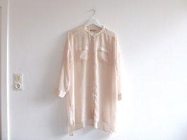 COS Tunika Gr. 44 42 Bluse zu Leggings creme transparent Vokuhila Brusttaschen