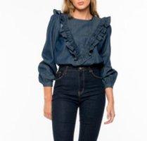 Denim Blouse dark blue-blue cotton