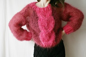 Cable Sweater raspberry-red-pink mohair