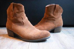 Esprit Botki w stylu western brązowy Skóra