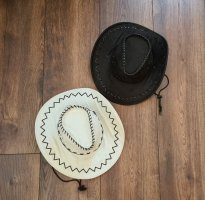 Kapelusz kowbojski biały-czarny