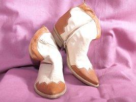 Stivaletto western beige-marrone