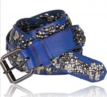 Cowboysbelt Studded Belt neon blue-steel blue
