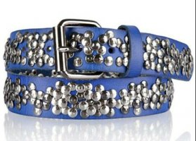 Cowboysbelt Studded Belt neon blue-steel blue leather