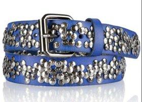 Cowboysbelt Cintura borchiata blu neon-blu acciaio Pelle