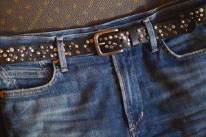 Cowboysbelt Studded riem zwart-zilver Leer