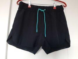 Crane Sportshort zwart-turkoois Polyester