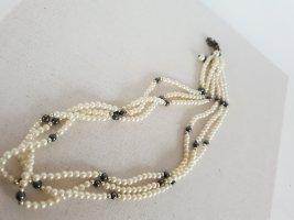 Retro Kette Collana di perle bianco-grigio scuro