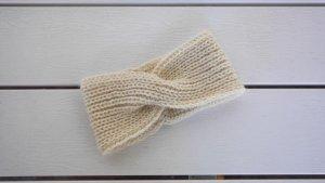 Cache-oreilles blanc cassé-crème laine alpaga