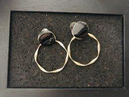 Creolen gold schwarz Ohrringe Schmuck