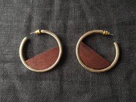 Creolen Holz gold Ohrringe Modeschmuck