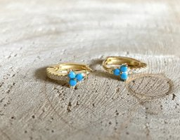 Silver Ear Hoops gold-colored-turquoise