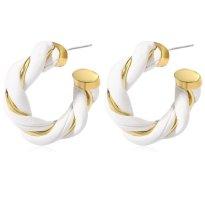 Pendientes tipo aro color oro-blanco Cuero