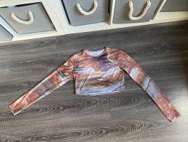 Crop Pullover Oberteil Shirt Aquarell Wellen verschwommen braun Muster Bauchfrei