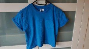 H&M T-shirt court bleu-bleu fluo