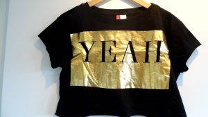 H&M Divided Top recortado negro-color oro Algodón