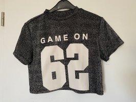 H&M T-shirt court argenté-blanc