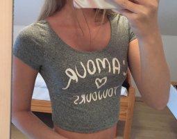 H&M Cropped shirt grijs-wit
