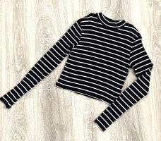 Camicia cropped nero-bianco