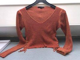 Crop Top Pullover mit Schnürdetail, V-Ausschnitt