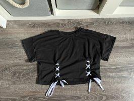 Crop top Shirt bauchfrei schnürung Bänder Schnürsenkel schwarz