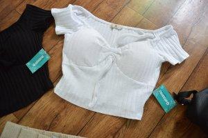 Cropped bardot Shirt weiss 38 von Catzara