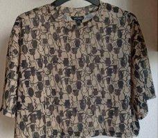 Monki Cropped shirt zwart-beige