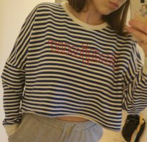 cropped Bonjour Pullover blau weiß rot