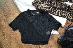 Cropped Mesh T-Shirt Gr. 38 schwarz Pretty Little Think