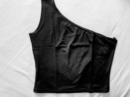 Cropped - One Shoulder Top in schwarz