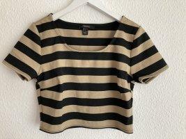 Cropped Shirt, gestreift, Ärmelchen