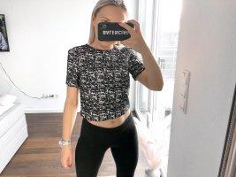 H&M Cropped Shirt black-white