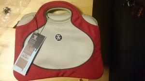 Laptop bag grey brown-carmine