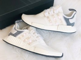 Crystal Adidas NMD R 1 Luxus Sneakers mit Swarovski Elements white / grey weiss
