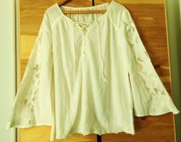 Culture Long Sleeve Blouse cream cotton