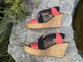 Cuplé Platform Sandals black-salmon leather