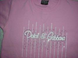 D&G Shirt, rosa mit Glitzer-Motiv, Gr. 110/116
